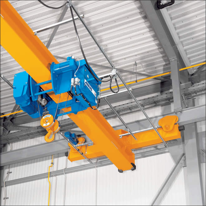 ABUS ELS single girder travelling cranes with two wire rope hoists used for handling superstructre components for luxury yachts (PR Marine Boatyard)