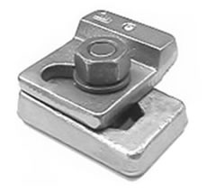 MX24 - A single bolt adjustable two part welded crane rail clip. The top interlocks, slides and tightens with the base. The clip is deigned and performs as a friction connection and requires a precise load in the bolt.