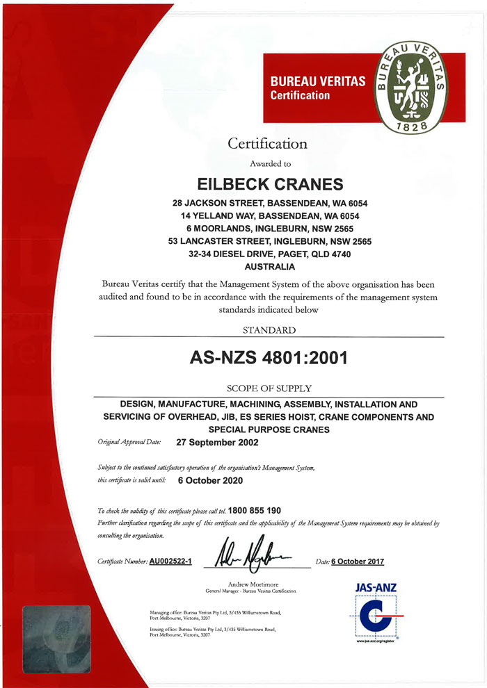 ISO 9001:2015, ISO 14001:2015 & AS/NZS 4801