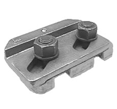 A double bolt adjustable two part welded crane rail clip. The top interlocks, slides and tightens with the base. The clip is deigned and performs as a friction connection and requires a precise load in the bolt.
